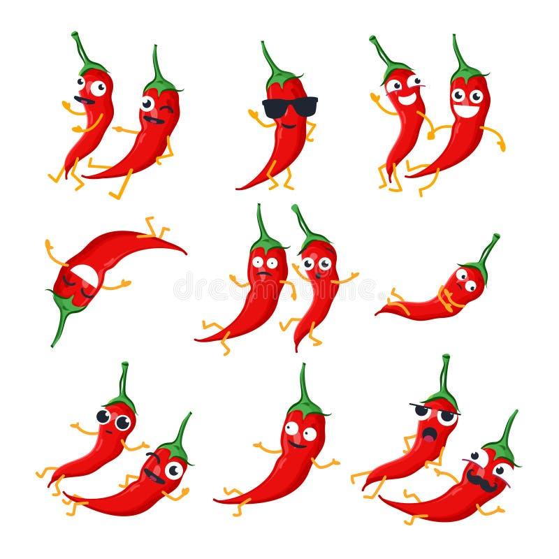 Śmieszni czerwonego chili pieprze - wektor odizolowywał kreskówek emoticons ilustracji