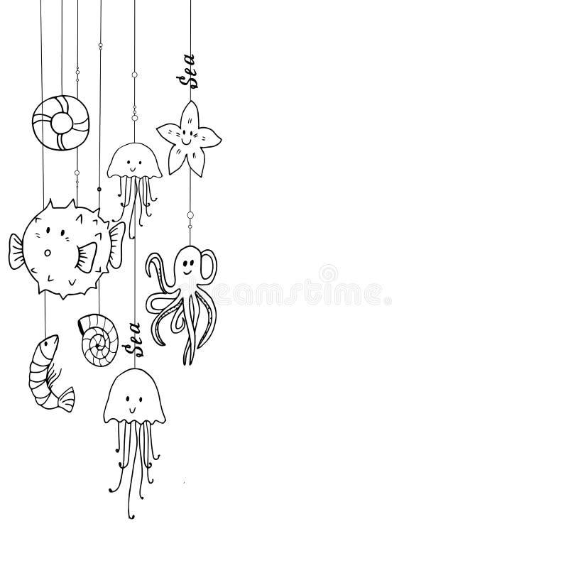 Śmieszni denni mieszkanowie na smyczkowym projekcie drukują pomysł ilustracja wektor