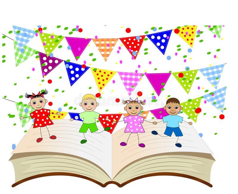 Śmieszni dzieci tanczy na stronach książka ilustracja wektor