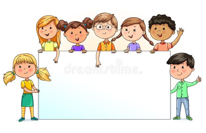 Śmieszni dzieciaki trzyma pustego sztandar dla twój teksta ilustracja wektor