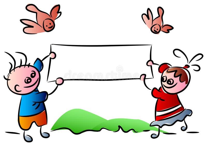 Śmieszni dzieciaki z sztandarem ilustracji