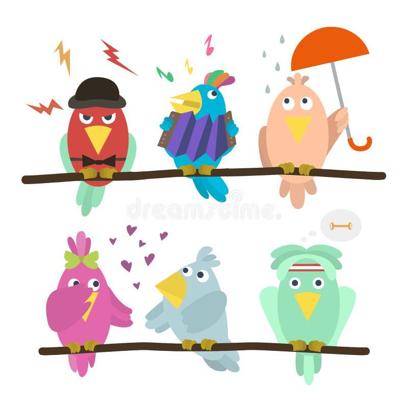 Śmieszni emoticon ptaki siedzi na gałąź Kreskówka ustawiająca śmieszni kolorowi śliczni ptaki Each ptak na jego warstwie z gałąź royalty ilustracja
