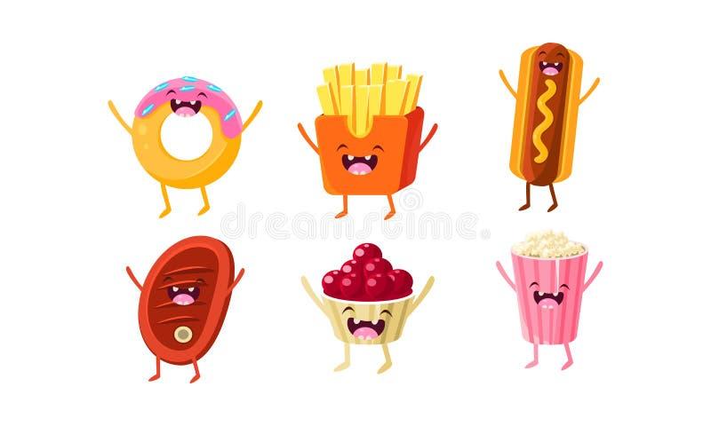 Śmieszni fastów food charaktery ustawiają, pączek, francuscy dłoniaki, hot dog, mięsny stek, lody, popkornu wektoru ilustracja royalty ilustracja