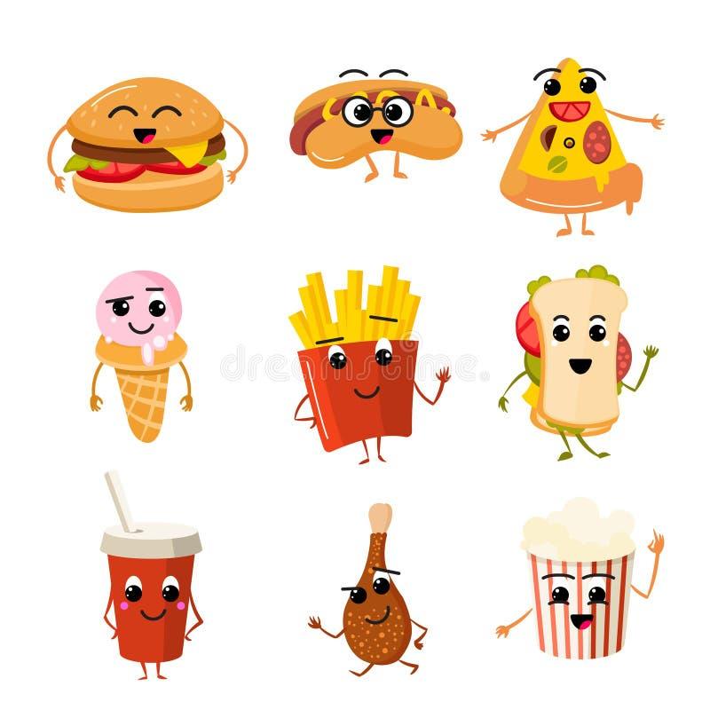 Śmieszni fasta food wektoru charaktery ilustracji