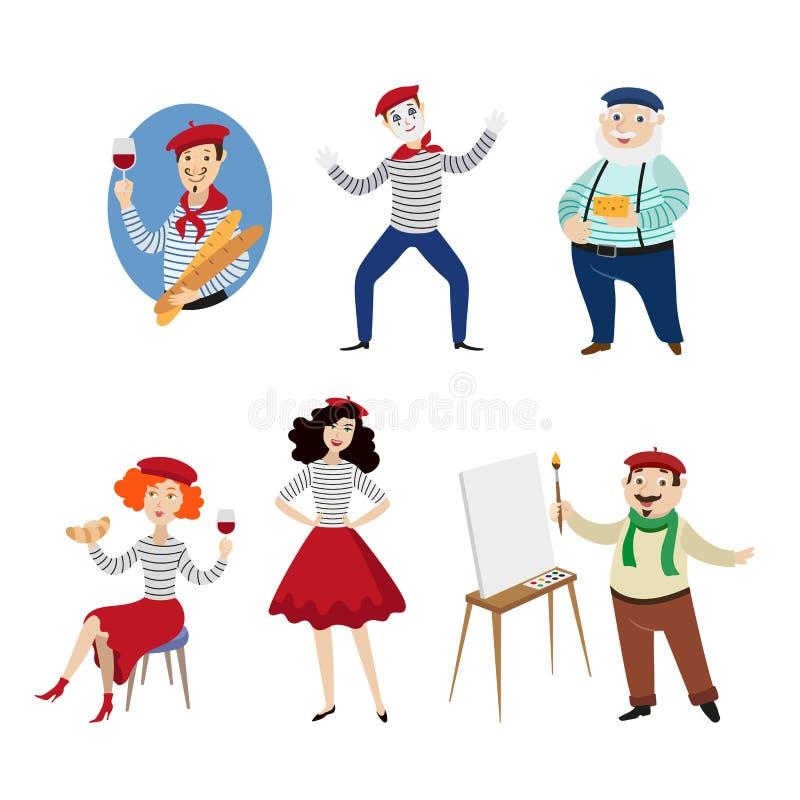 Śmieszni Francuscy charaktery, ludzie, jedzenie i kultura, royalty ilustracja