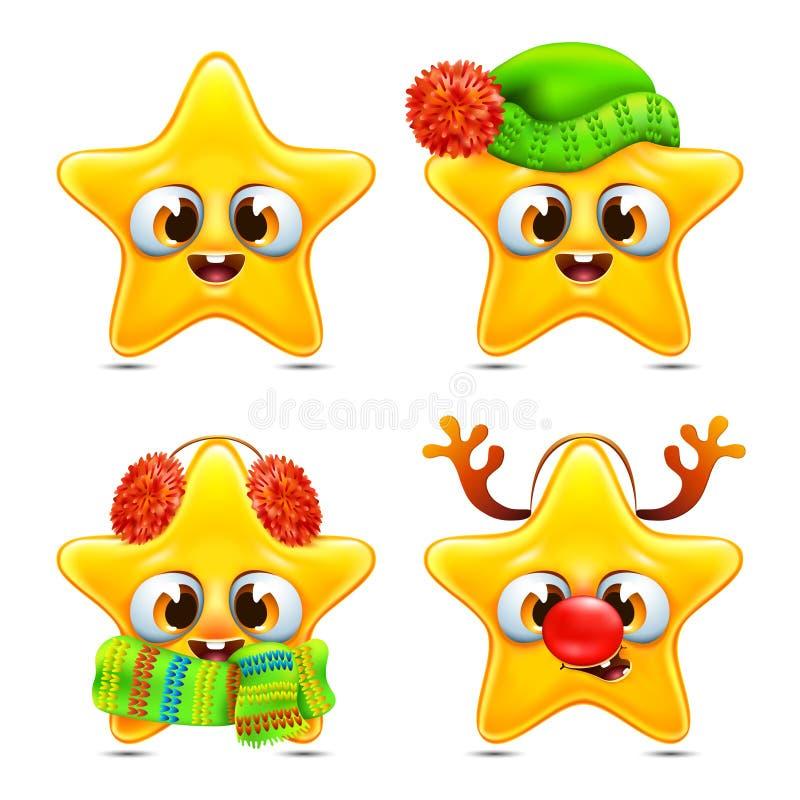 Śmieszni gwiazdowi emocj boże narodzenia ustawiający royalty ilustracja