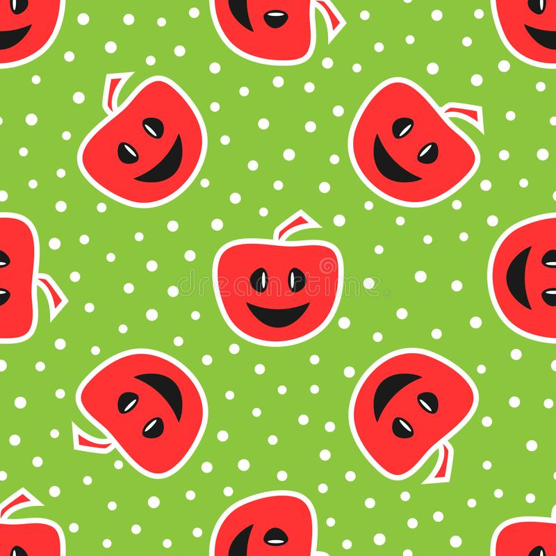 Śmieszni jabłka z uśmiechniętą twarzą kolorowy deseniowy bezszwowy Rewolucjonistka, ilustracji