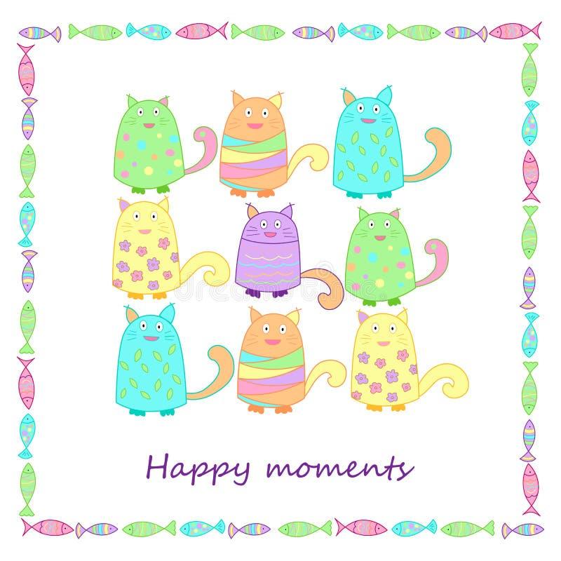 Śmieszni kolorowi koty z ryba fotografia stock