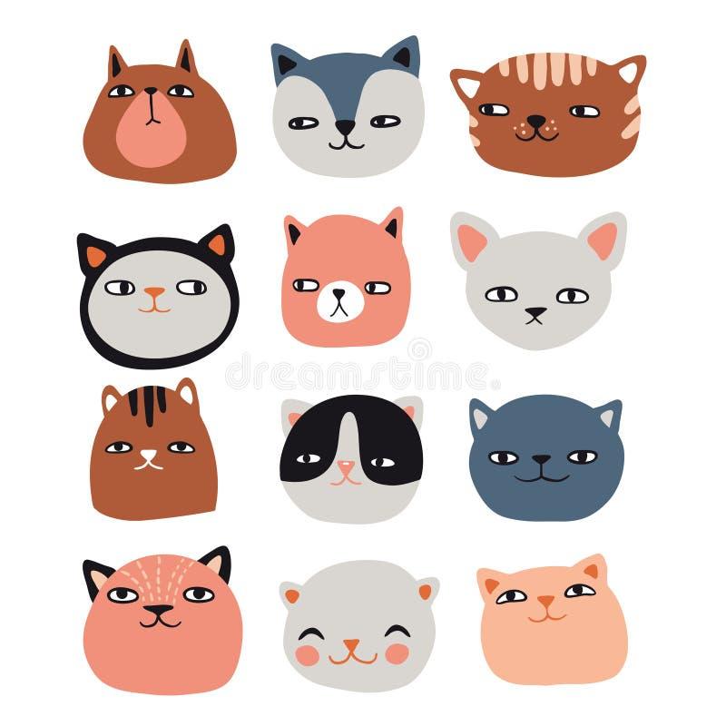 Śmieszni koty inkasowi ilustracja wektor