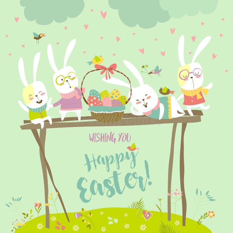 Śmieszni króliki świętuje wielkanoc royalty ilustracja