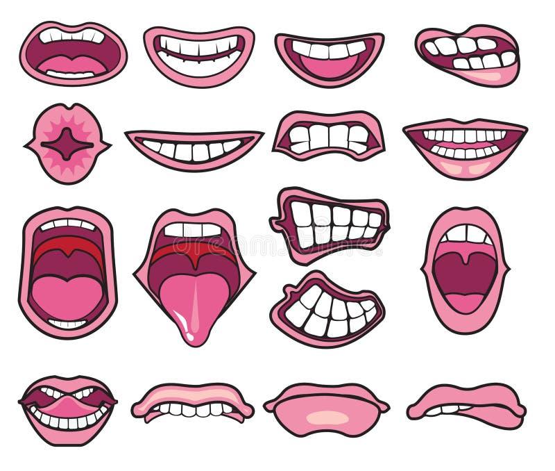 Śmieszni kreskówek usta ustawiający ilustracja wektor