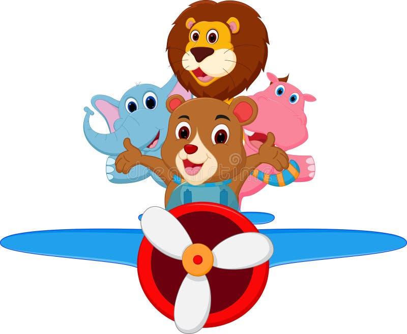 Śmieszni kreskówek zwierzęta jedzie samolot ilustracji