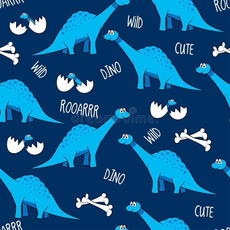 Śmieszni kreskówka dinosaury, kości i jajka z dziećmi, ilustracji