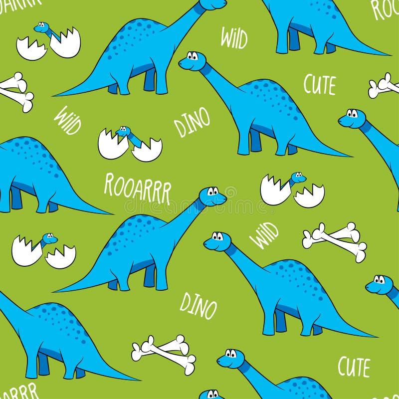 Śmieszni kreskówka dinosaury, kości i jajka z dziećmi, royalty ilustracja