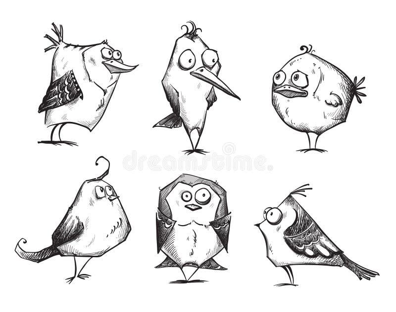 Śmieszni kreskówka ptaki, ręka rysująca royalty ilustracja