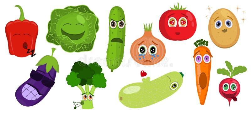 Śmieszni kreskówki warzywa charaktery Jarzynowi emoticons Pieprz, kapusta, ogórek, cebula, pomidor, grula, oberżyna, brokuły royalty ilustracja