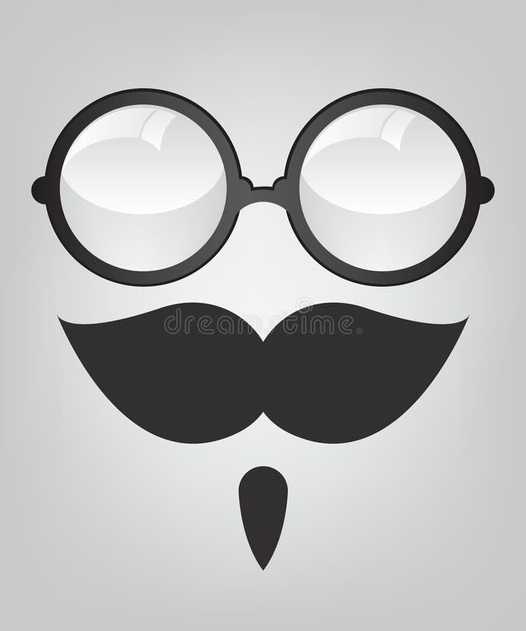 Śmieszni maskowi retro okulary przeciwsłoneczne i wąsy ilustracji