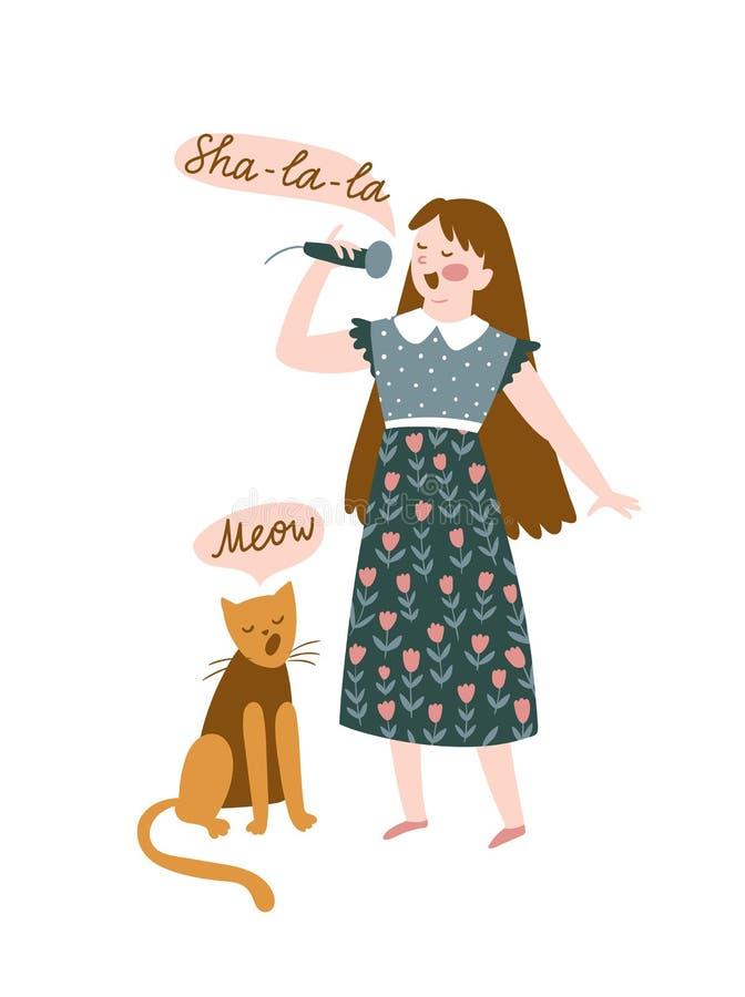 Śmieszni muzycy - młoda dziewczyna i kot śpiewamy duet Wektorowa ilustracja dla festiwalu muzykiego Jaskrawy plakatowy projekt dl ilustracja wektor