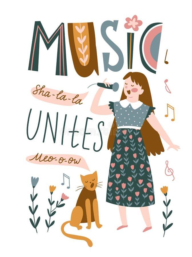 Śmieszni muzycy - młoda dziewczyna i kot śpiewamy duet Wektorowa ilustracja dla festiwalu muzykiego z literowaniem - «muzyka jedn royalty ilustracja