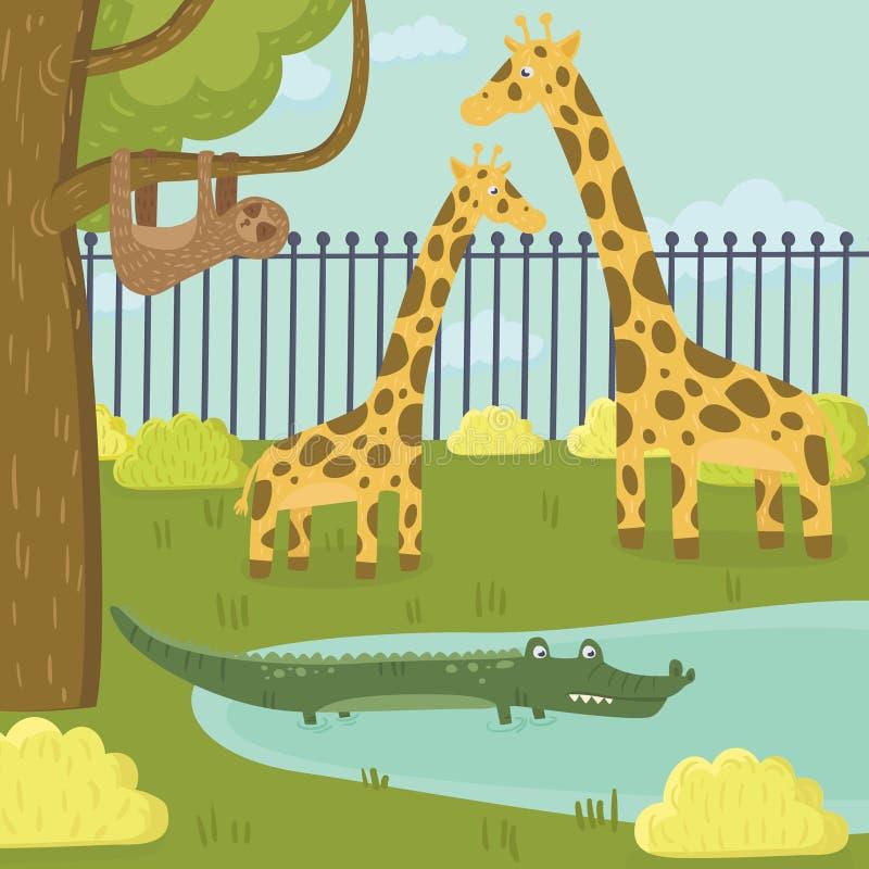Śmieszni opieszałości, żyrafy i krokodyla charaktery w zoo parku, Tropikalni zwierzęta i przyroda Drzewo, krzaki i staw, kreskówk royalty ilustracja