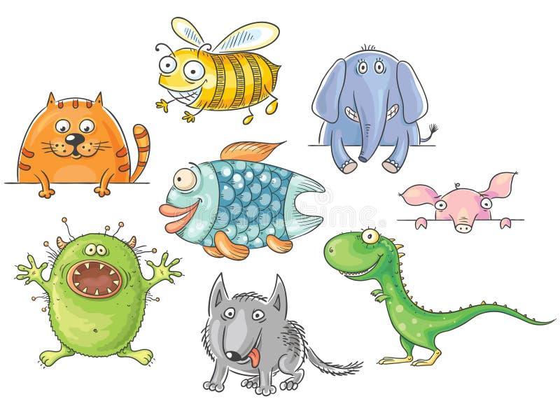 Śmieszni przyglądający się kreskówek zwierzęta ustawiający royalty ilustracja