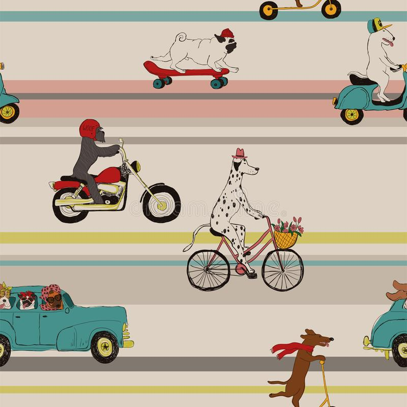 Śmieszni psy Jedzie pojazdu Bezszwowego wzór ilustracja wektor