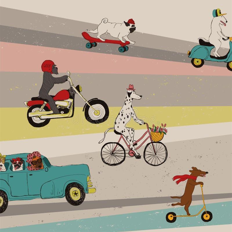Śmieszni psy Jedzie pojazdy ilustracji