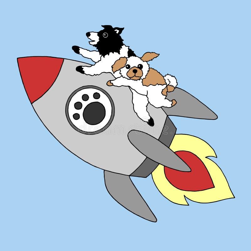 Śmieszni psy lata na rakietowego biznesowego pojęcia wektorowej ilustracyjnej ręce rysującej ilustracji