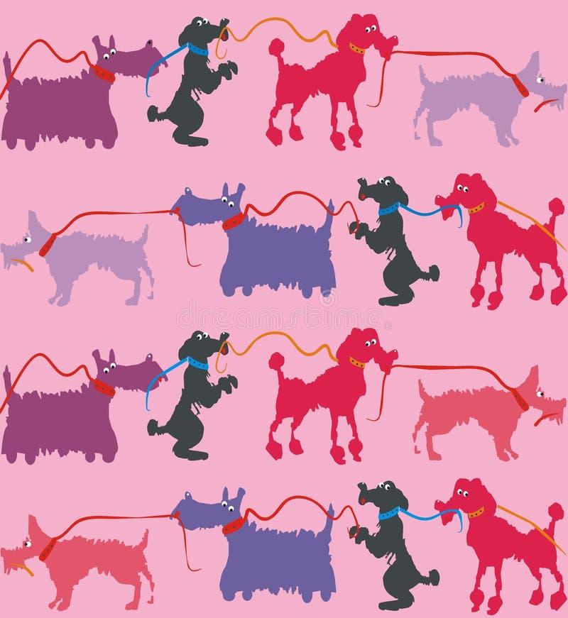 Śmieszni psy z prowadzeniem ilustracja wektor