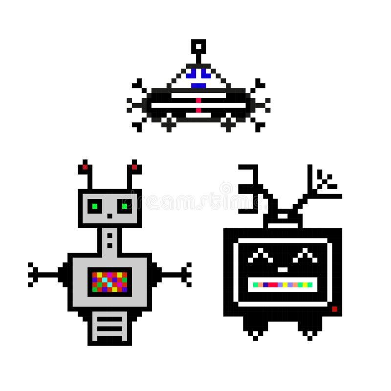Śmieszni roboty - piksel sztuki set ilustracji