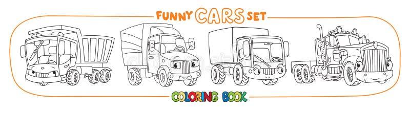 Śmieszni samochody lub ciężarówki z oczami Kolorystyki książki set ilustracja wektor