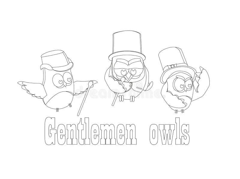 Śmieszni sowa dżentelmeny, set na odosobnionym tle ilustracji