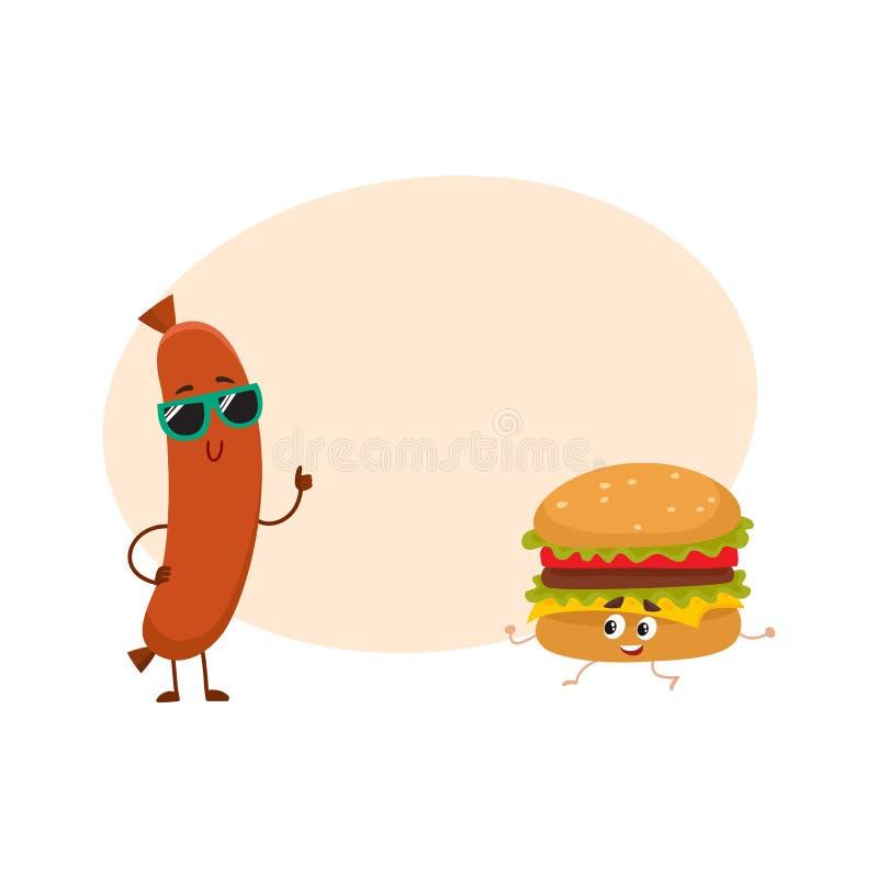 Śmieszni uśmiechnięci kiełbasy i hamburgeru charaktery, fasta food pojęcie ilustracja wektor