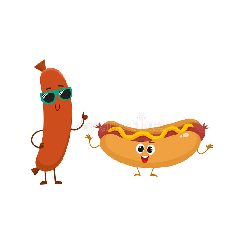 Śmieszni uśmiechnięci kiełbasy i hotdog charaktery, fasta food pojęcie ilustracji