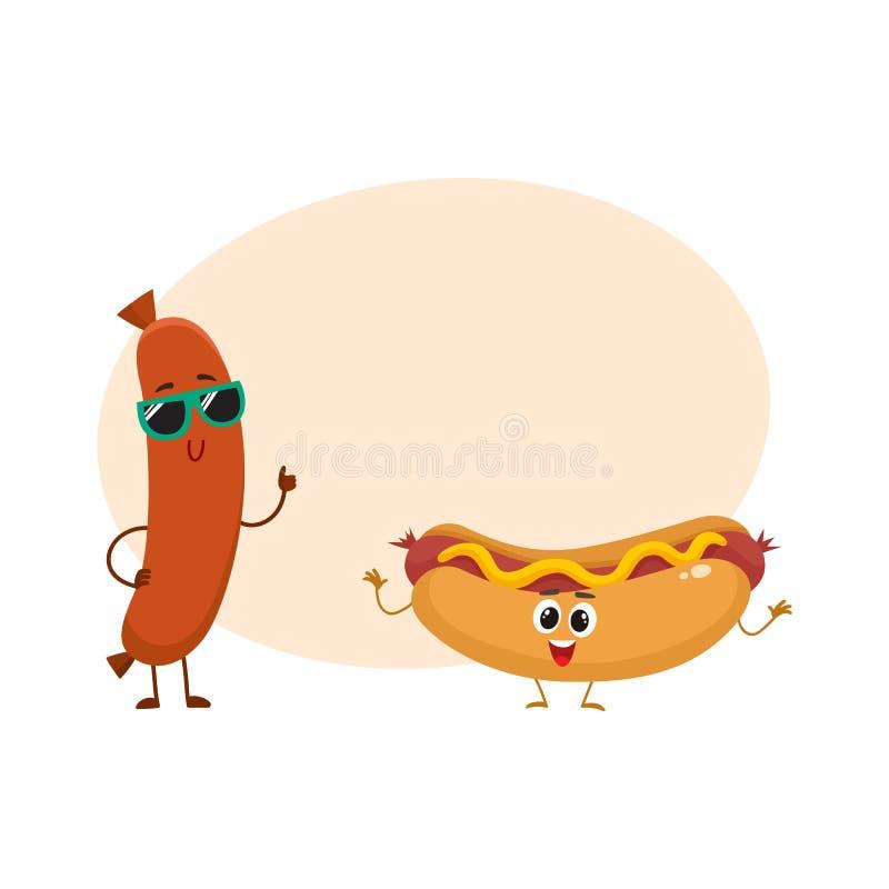 Śmieszni uśmiechnięci kiełbasy i hotdog charaktery, fasta food pojęcie royalty ilustracja