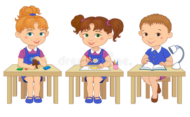 Śmieszni ucznie siedzą na biurkach czytających remis kreskówki glinianą ilustrację royalty ilustracja