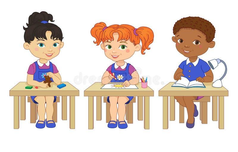 Śmieszni ucznie siedzą na biurkach czytających remis kreskówki glinianą ilustrację ilustracji