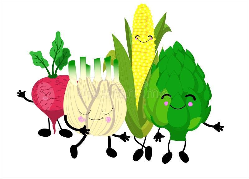 Śmieszni warzywa - karczoch, kukurudza, rzodkiew Charaktery dla dziecko plakatów i nauka przewdoników Warzywo charaktery royalty ilustracja