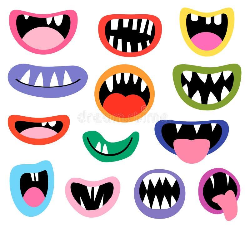 Śmieszni wektorowi potworów usta, otwarty i zamknięty ilustracja wektor