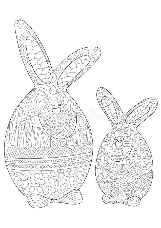 Śmieszni Wielkanocnego królika bliźniaków jajka ilustracja wektor