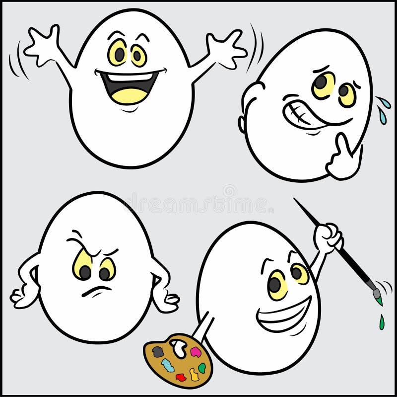 Śmieszni Wielkanocni jajka, ustawiają 3 4 ilustracji