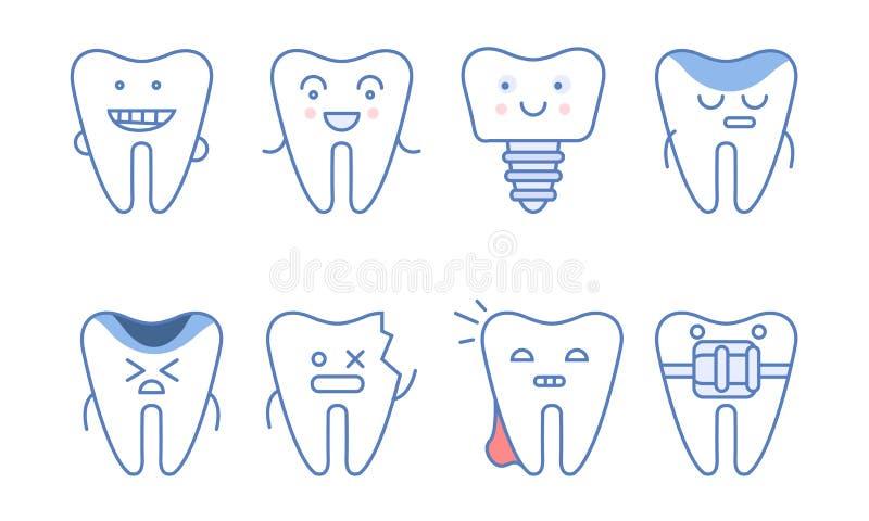 Śmieszni zębów charaktery Ustawiający, dentystyka, traktowanie, zęby z Różnymi emocjami i Śmieszna twarz wektoru ilustracja, ilustracja wektor