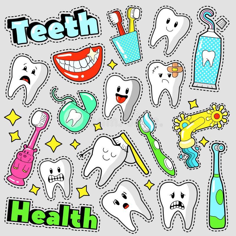 Śmieszni zębów i dentystyka elementów Scrapbook majchery, odznaki, łaty ilustracji