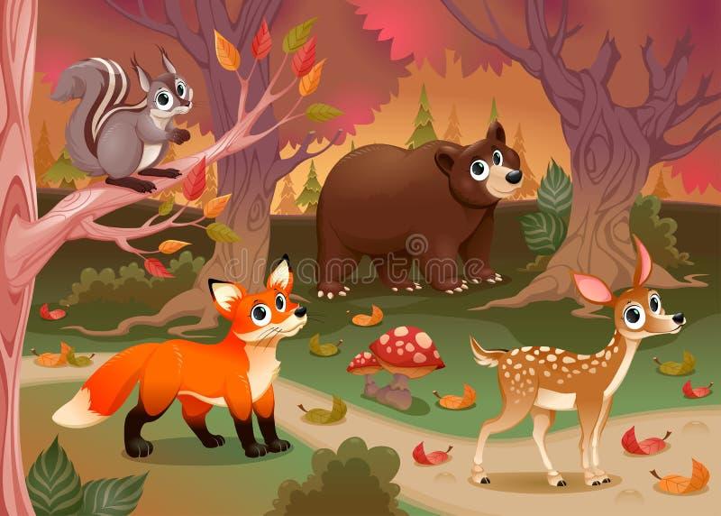Śmieszni zwierzęta w drewnie ilustracji