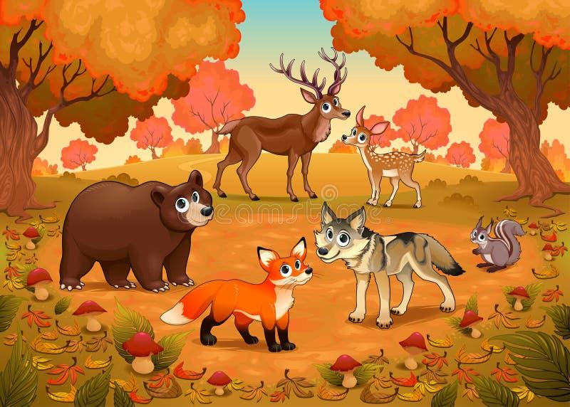 Śmieszni zwierzęta w drewnie ilustracja wektor