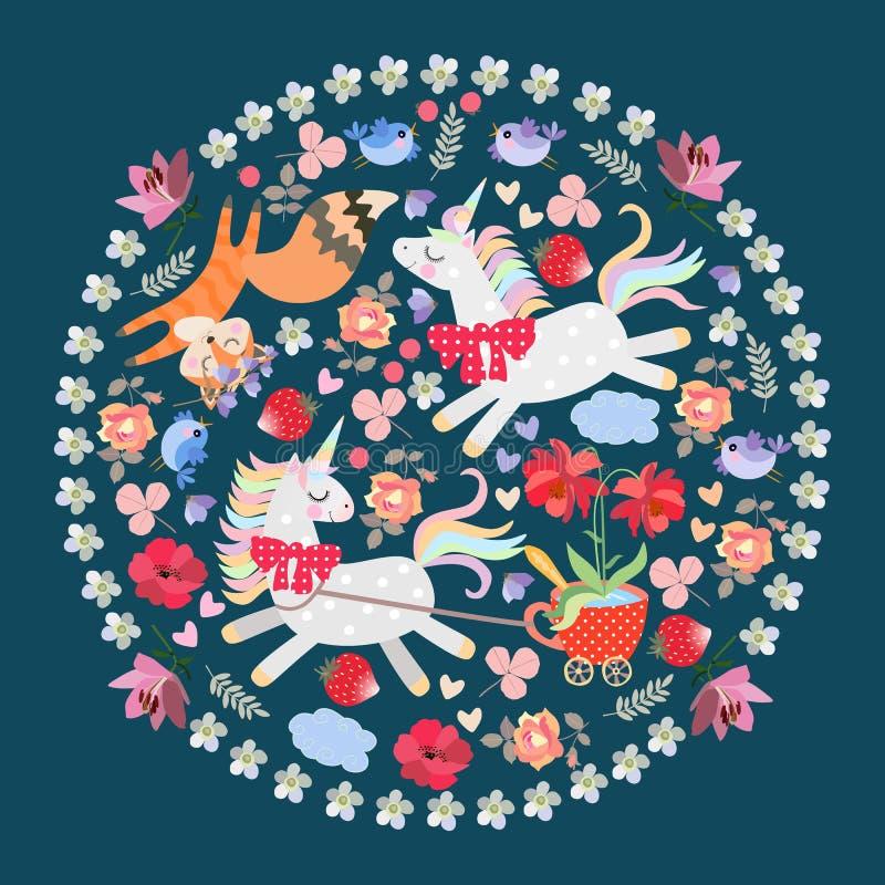 Śmieszni zwierzęta w round ornamencie z kwiecistą ramą Jednorożec zaprzęgać fura w postaci polki kropki herbacianej filiż ilustracji