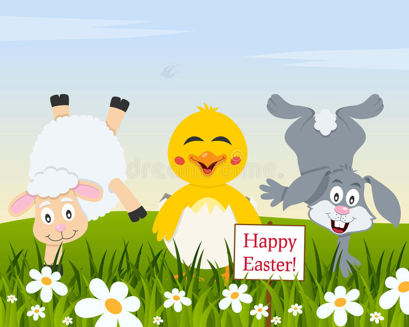 Śmieszni zwierzęta & Wielkanocni jajka w łące ilustracji