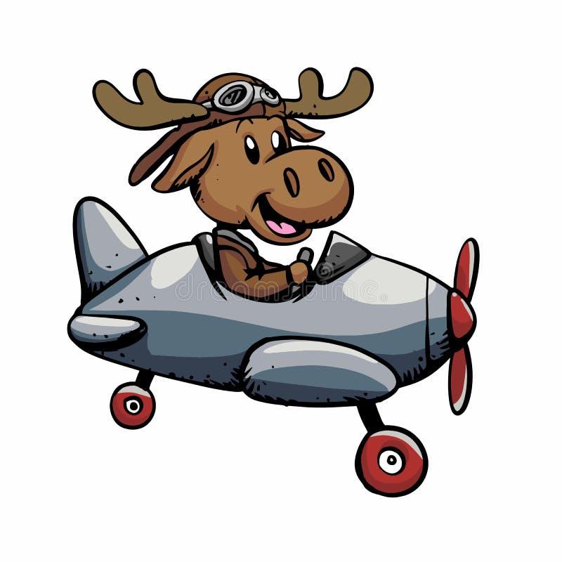 Śmieszny łosia amerykańskiego lotnik ilustracja wektor
