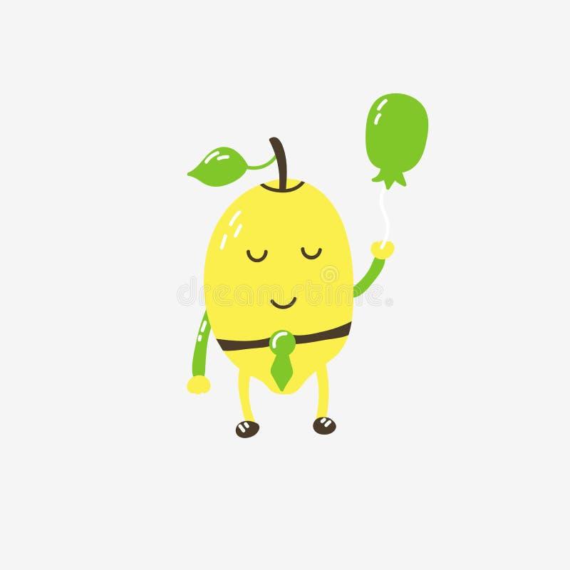 Śmieszny śliczny cytryna charakter z balonem, kolor żółtej zieleni bielu brąz ilustracja wektor