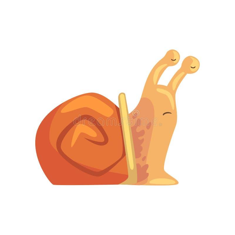Śmieszny ślimaczek przysypia, śliczna komiczna mollusk charakteru kreskówki wektoru ilustracja royalty ilustracja